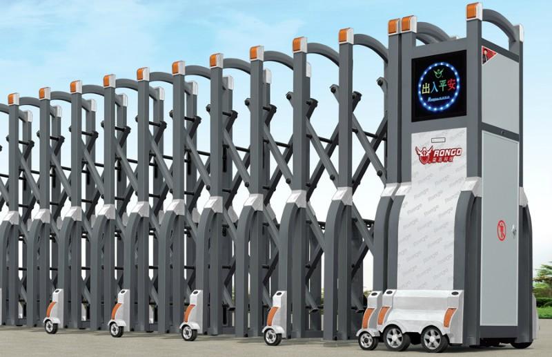 西安市雁塔区小区不锈钢电动伸缩门订做-- 西安鸿运门业有限公司